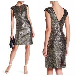 Nicole Miller gold sequin illusion dress 6 NWOT